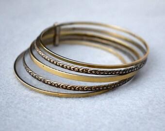 Five Bangle Bracelet Set Vintage