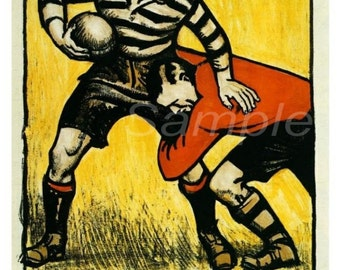 Vintage Rugby at Twickenham by Tram Travel Poster Print