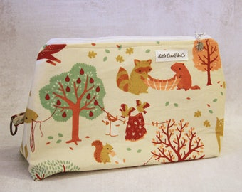 Handmade Zippered Project Bag - Forest Pals