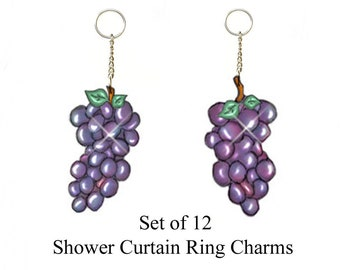 Grape Clusters...Bling Charm Ornaments...Set of 12....Custom Made to Order