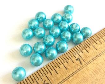 Vintage Destash Bead Grab Bag - 8mm Acrylic Beads Teal - 21 pcs