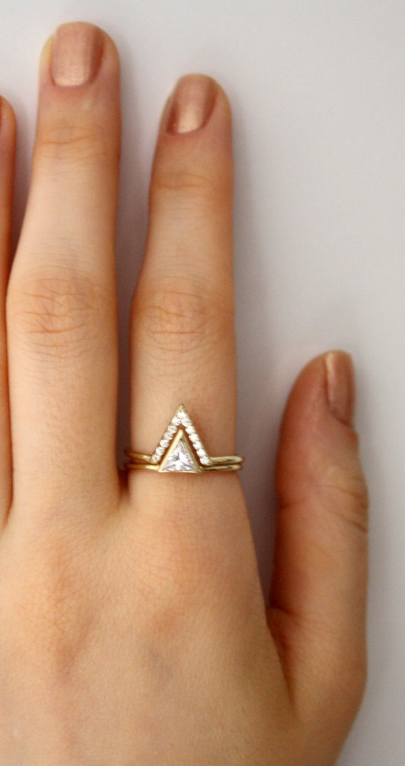 Triangle Ring With Pave Cz V Ring Triangle Swarovski