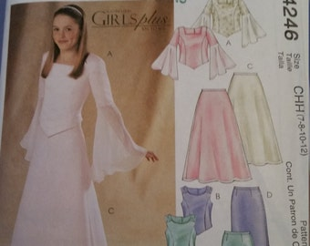 McCall's sewing pattern 4246 Girls' tops, skirts and stole in size 7, 8, 10, 12