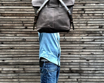Waxed canvas tote bag  with leather handles and fold to close top / waterproof tote bag
