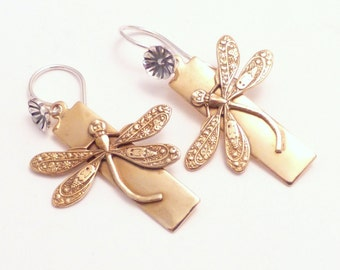 GOLDEN DRAGONFLY   Brass & Sterling Handcrafted Earrings