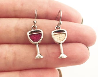 Wine Earrings Wine Lover Gift for Her for Women Mismatched Earrings Silver Red Wine White Wine Wine Glass Glasses Wine Drinker Enthusiast