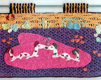 Smoochies - Crocheted Beaded Wall Hanging - Kissing Alien Water Dragons
