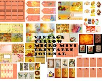 Micro Mini Vintage Yellow Printable Journal-link