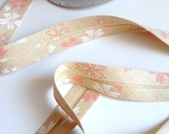 Japanese bias, motifmotif cherry blossoms, beige, cotton, 20mm (B2034)