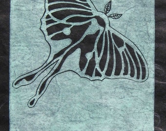 Luna Moth - Original Linocut (Turquoise or Green)
