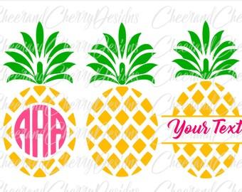 Pineapple SVG Pineapple Monogram svg Pineapple Monogram frame svg Pineapple split monogram Pineapple Cricut Cut File Pineapple Silhouette