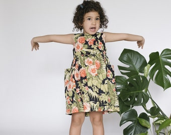 Green Navy Floral Girls Dress, Girls Linen Dress, Todder Summer Dress, Dress with Pocket, Birthday Outfit, Wedding Outfit, Party Dress