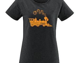 Halloween Pumpkin Train Womens T Shirt - Halloween Womens Tee - Shirt for Women PolyBlend / Vintage Tshirt