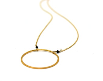 Large Eternity Circle Necklace. Simple Fresh Water Pearl Necklace. Choice of Gemstones. Gold Fill or Sterling Silver Necklace. NS-1929