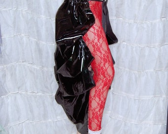 Shimmery Black PVC Pleather Bustle Wrap MTCoffinz - All Adult Sizes adjustable  - Ready to Ship