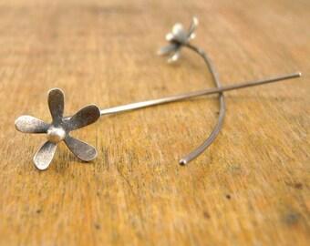 Unique post earrings. Sterling silver flower stem earrings.
