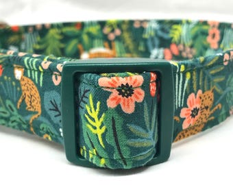 Rifle Paper Co. Fabric Dog Collar Boy Girl Male Female Menagerie Jungle Green