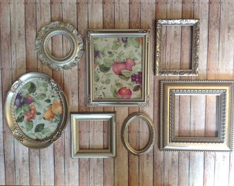 Ornate Champagne Gold Wall Frame Gallery - Picture Frames & Open Wall Frames - Set of 7 Oval Square Rectangle