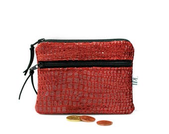 Croc mini wallet, Red coin purse, Small change pouch, Shiny zipper pouch, Business Card holder, Teacher gift, Earbud case, Mothers day gift