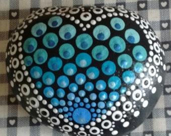 Blue heart painted rock