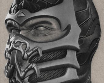 SCORPION ART PRINT, Mortal Combat Art, Wall Art, Scorpion Drawing
