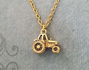 Tractor Necklace SMALL Tractor Jewelry Farming Necklace Farmer Necklace Farm Gift Tractor Charm Necklace Pendant Necklace Farming Gift