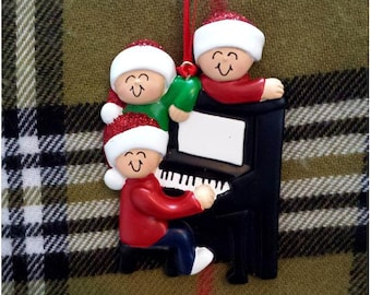 Personalized Christmas Ornament Family of 3 Around a Piano - Gift for Mom or Grandma - Family Christmas Carolling Ornament