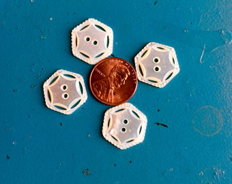 """Vintage Pearl Buttons Hand Carved Mother of Pearl Braided Hexagon Star 1910's 2pc 3/4"""" 19mm Double Sided Art Notions Costume Antique MOP"""