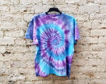 Tie Dye Shirt Hippie Tshirt Unisex T-shirt All Sizes Purple & Blue Festival Clothing Trippy Psychedelic Hippie Gift Tie Dye Mens Clothing