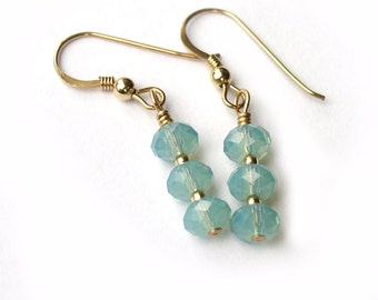 Pacific Opal Swarovski Crystal Gold Filled Earrings for Women