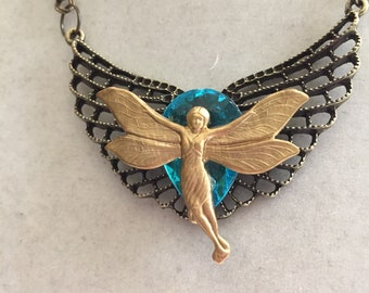 Handmade Jewelry Assemblage with Blue Stone and Fairy