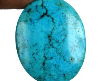 59.20 Ct Natural 31 x 24 mm Oval Shape Arizona Blue Turquoise Loose Genuine Gemstone