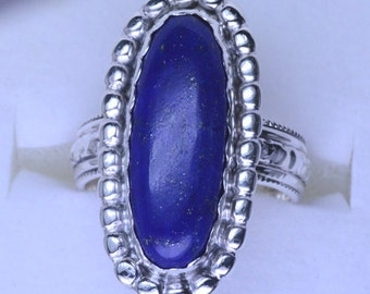 Handmade Sterling Silver Blue Lapis Lazuli Ring size 6 to 11