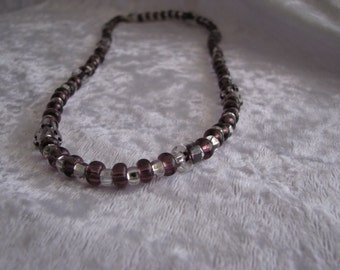 Dark Purple and Clear Beaded Necklace