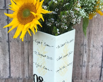 Personalized Ceramic Vase with initials and wedding date. Pineapple design.