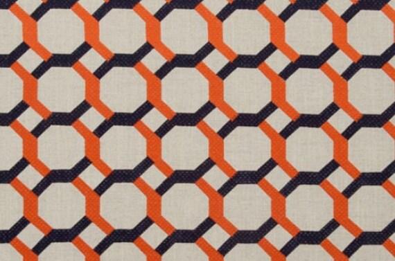 Navy Blue Orange Embroidered Linen Upholstery Fabric - Custom Orange ...
