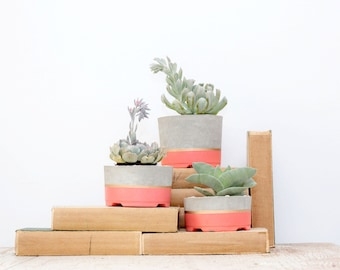 Mother's Day Gift for Her, Concrete Planters, Set of 3, Three-tier Concrete Pots, Succulent Planters