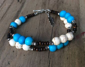 Howlite, Electric Blue, Tribal Silver, and Wood Beaded Double Strand Bracelet with Feather Charm