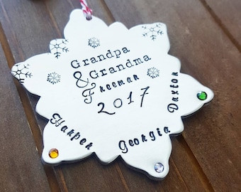 Personalized Family Christmas Ornament - Hand Stamped Christmas Ornament - Anniversary Our First Christmas - Custom Christmas Gift