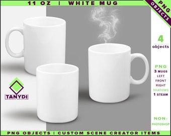 Coffee Mug 11oz | Non-Photoshop | PNG objects | Left Right Front White Mug | Shadows | Custom Scene Creator Items