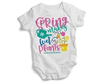Spring makes me wet me plants colourful cute baby bodysuit BANDANA PULLOVER BIB hight quality print baby christmas baby shower gift