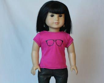 "Nerdy Glasses Doll Shirt, 18 Inch Doll Shirt, 18""  Doll Shirt, fit American Girl Doll, Geeky Doll Clothes"