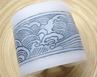SALE White Translucent Cuff Bracelet Japanese Wave Design, Handmade Jewelry by theshagbag on Etsy