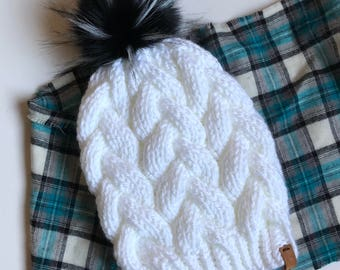 Womens Braided Cable Beanie Hand Knit White Spotted Wolf Faux Fur Pom Acrylic Bulky Yarn Handmade Skiing Snowboarding Sledding Winter Hat