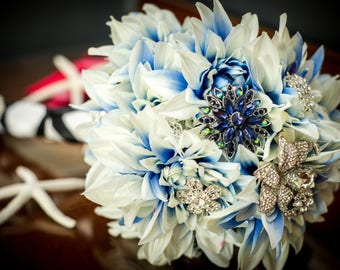 Subtle Touch, Blue and White Broach Bouquet