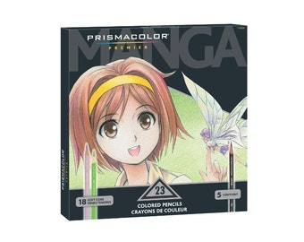 Prismacolor Manga Pencils, Prismacolor Premier Soft Core Colored Set of 23 Manga Pencils; Prismacolor Drawing Pencils, Anime, Manga