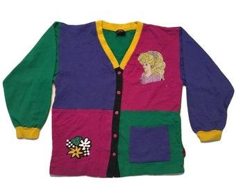 Barbie Sweater Cardigan vintage 90s Fresh Prince - Women S-M