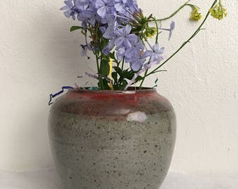 Speckled grey & red vase