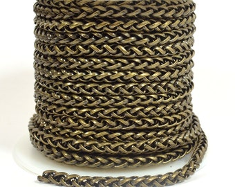 4mm Wheat Chain - Antique Brass - CH121 - Choose Your Length