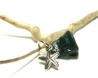 Genuine Drilled Beach Stone Slag Glass Pendant Blue Sea Glass Nugget Leland Bluestone SEA STAR Pebble River Rock Lake Find Star Charm